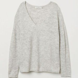 EUC H&M LOGG Light Heather Grey V Neck Sweater